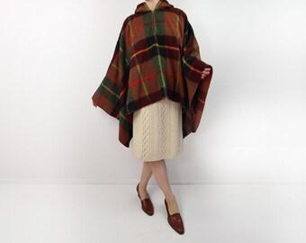 VINTAGE 1950s Cape Plaid Wool Hood