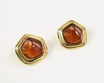 VINTAGE 1980s Amber Earrings Gold Small Pierced