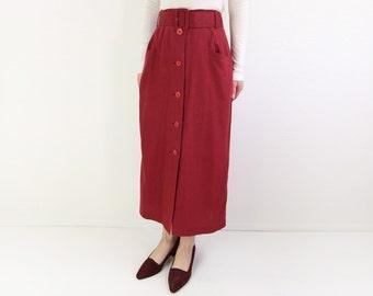 VINTAGE Linen Skirt Belted Long Red