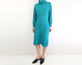 VINTAGE Angora Dress Turtleneck Knit Teal Sweater