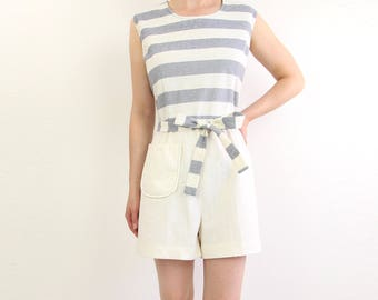 VINTAGE Romper 1960s Nautical Stripes