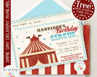 Circus Invitation, Circus Birthday Invitation, Circus Birthday Party, Circus Party Invitation, Circus Ticket Invitation, BeeAndDaisy (KB10)