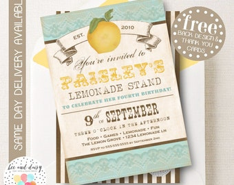 Vintage Lemon Baby Shower Invitation, Lemon Party Invitation, Girl Baby Shower, Boy Baby Shower, Picnic Party Invite, Lemonade Invitation