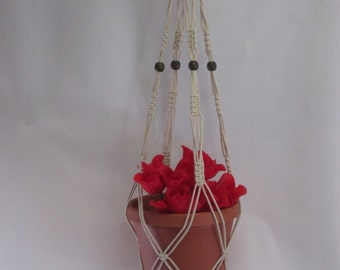 Macrame Plant Hanger Cotton Cord Vintage Style Beige 36 inch with BEADS