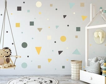 Kids room Nursery Wall Decals, Gray, yellow, Mint, Polka dots, Square Decal, Triangle decals, Kids Wall Decal Modern Nursery Wall stickers