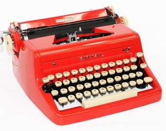 Vintage Red Typewriter Royal Quiet DeLuxe Manual with Case Fully Serviced Working Typewriter