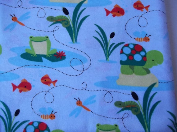 Frog pond print cotton flannel flannel fabric turtle for Children s flannel fabric by the yard