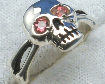 Pink Tourmaline Eyes, Skull and Cross Bones Ring, October Birthstone, Recycled Sterling Silver Pirate ring, Jolly Roger