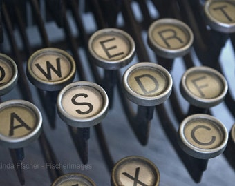 Vintage Typewriter Round Letter Keys Macro Image Digital Download  Vintage Look Wall Art Home Decor Linda Fischer of Fischerimages