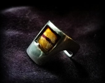 Unusual Handcrafted Enamel Silver Ring