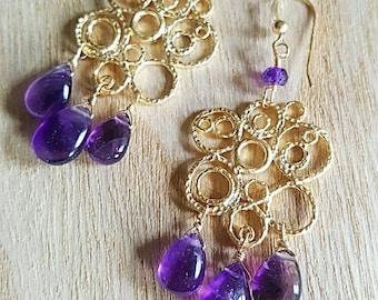 African Amethyst Chandelier Earrings Bohemian Earrings Gypsy Boho Chic Gold Chandeliers