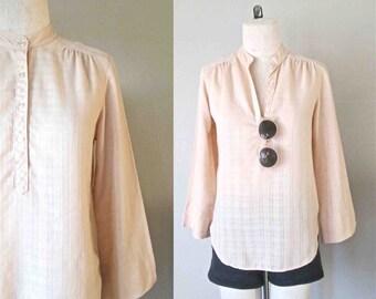 Vintage 80's boho blouse MAO COLLAR light peach plaid textured - S/M