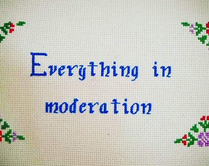 Everything In Moderation Custom Needlepoint with Throw Pillow Option