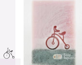 SoapRepublic Small antique bike Acrylic Soap Stamp / Cookie stamp / Clay Stamp