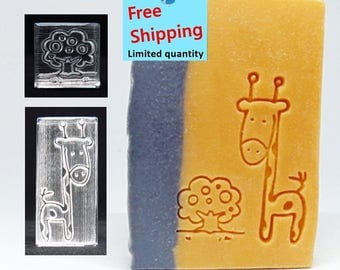 Free Shipping!  Giraffe and little apple tree (2pcs) Acrylic Soap Stamp / Cookie Stamp / Clay Stamp