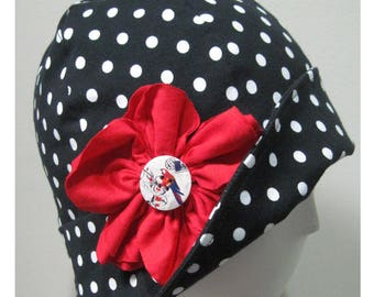 Cloche hat, 20' style,Cap,Polka dots,Black&white,Hat,Cotton,Spandex, Chemo Caps, Chemo Hat, Stretchy caps,Hat for chemotherapy
