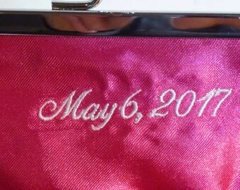 Custom Embroidery Date or Name for Bridal Clutch or Bridesmaid Clutch