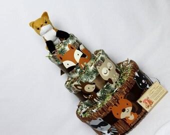 Woodland Animals Baby Diaper Cake Shower Gift Centerpiece Forest Creatures