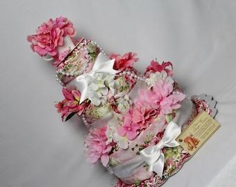 Baby Diaper Cake Tea Garden Party Shower ALREADY MADE Gift Centerpiece Elegant Pearls