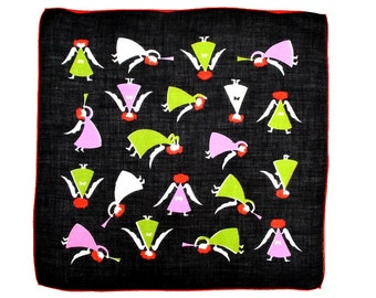 VINTAGE HANKIE Tammis Keefe Design Christmas Angels on Black Field Unsigned Lime Pink Red Black Linen Hand Rolled Hem Excellent Condition