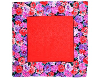 JEANNENE BOOKER Silk Scarf, 35 in. sq. Gorgeous Solid Field of Dalias Red Lavender Border Large Cherry Red Rose-Embossed Center Signed Label