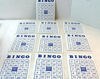 Vintage Bingo Cards blue and white lot of 10 ephemera paper craft altered art