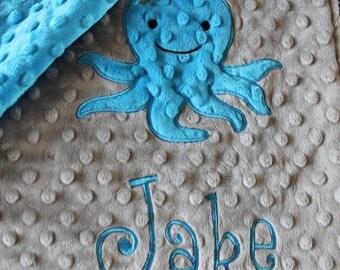 blanket, baby blanket, personalized blanket, minky blanket 29 x 35 blanket,octopus  blanket