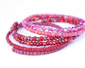 Pink Sweetheart Beaded Bracelets Trio, Glass Beaded Bracelets Set, Ready to Ship out