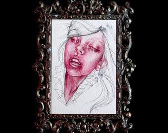 Original 4x6 Post Card Crimson Magenta Watercolor Oil Colored Pencil Study 2