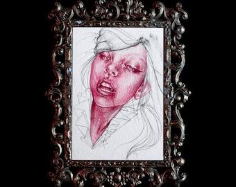 Instagram sale - Original 4x6 Post Card Crimson Magenta Watercolor Oil Colored Pencil Study 2