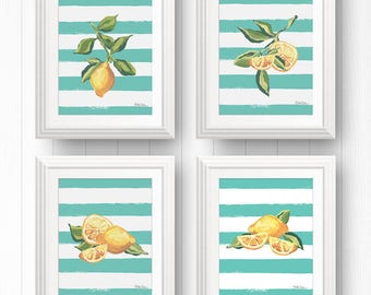 Lemon Wall Art Bundle, Lemon Art Print Set, Lemon Illustration, Citrus Fruit Print, Fruit Wall Print, Lemon Kitchen Decor, Picture Of Lemon