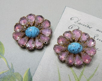 WEISS Signed Blue & Pink Givre Flower Rhinestone Clip On Earrings    NCD41