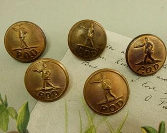 5 Antique Post Office Department POD Brass Buttons  NDT28