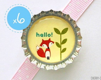 Fox Magnet Favors, 6 Bottle Cap Magnets, fox baby shower favor, fox themed baby shower, fox party favor, fox birthday party favor, fox favor