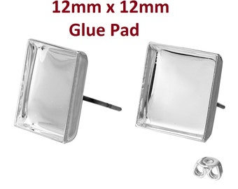 10 pcs. Silver Plated Square Earring Posts Studs Settings Bezels Cabochons Tacks- 12mm x 12mm Glue Pad Setting