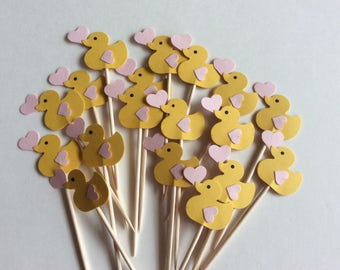 24 Ducks cupcake toppers/ Baby showers, party picks