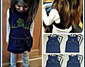 Hawkbeat Toddler Bib / Seahawks Gear / 12s Heartbeat / Seahawks / Seahawks bib / mini 12 / Seattle Seahawks / Toddler Bib / Peplum Bib