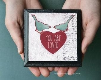Love Birds Wall Art, Customizable Valentine's Day Gift Idea, Gift For Her, Gift for Daughter, Lovebirds, Custom Valentines Sign Gift