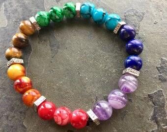 7 Chakra Bracelet for Spiritual Balance. Gemstone Stretch Bracelet. Unisex Bracelets. Jewelry with a meaning. Healing jewelry. Yoga.