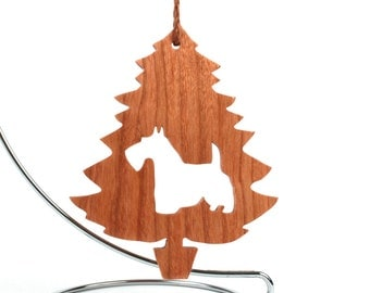 Scottish Terrier Ornament Scottie Dog Silhouette Ornament Christmas Tree Scottie Dog Wood Pet Ornament Cherry