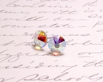 Rainbow Crystal Swarovski Post Stud Earrings. Simple Sparking Earrings.