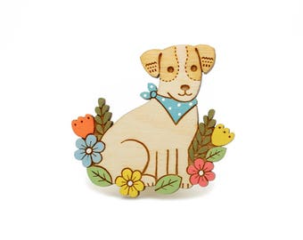 Jack russell brooch ~ hand painted laser cut dog brooch