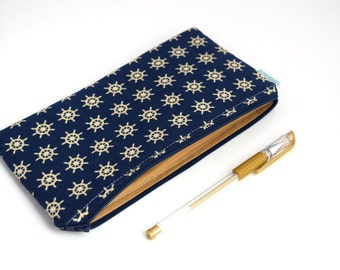 Pen Pouch - Nautical Bag - Fabric Pencil Case - Zipper Pouch - Pencil Pouch Organizer - Journal Accessories - Back to School Supplies