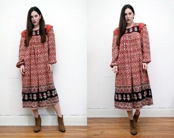 Vintage Indian Cotton  Floral Batik Hippie Boho Smock Maxi Dress 70's