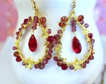 Red Garnet Floral Vine Branch Gold Hoop Earrings - Valentines Day Red Garnet Cherry Blossom Hoop Earrings - Christmas Gift Red Hoop Earrings