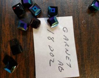6mm Swarovski Crystal Cube Garnet AB
