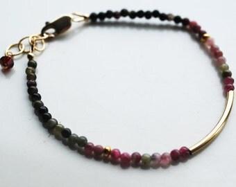 Tiny Smooth Multi Color Tourmaline beads, 14kt Gold Filled Bracelet