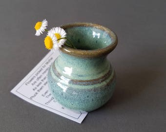 Miniature Pottery Flower Pot Mini Vase for Mother's Dandelions Green