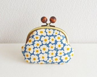 Frame purse -356- Scandi modern floral Candy coin purse - blue white yellow
