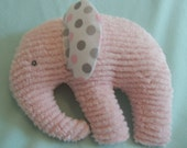 Stuffed Chenille Elephant, Pink, ears are White with Pink and two shades of Grey dots